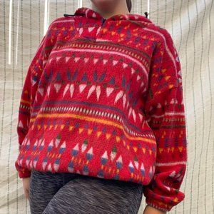 Red Sweater with Geometric Pattern